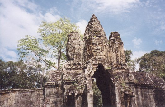 This is one of the four gatehouses, positioned at the cardinal points of the compass, which control access to the walled temple of Angkor Thom. There is also a fifth entrance known as the Victory Gate, located in the eastern wall.