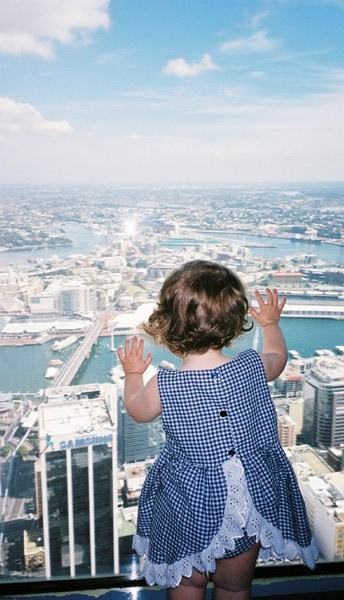 Olivia looking out from Centerpoint Tower
