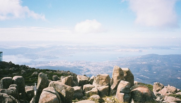 Mountain view overlooking Hobart, Tasmania