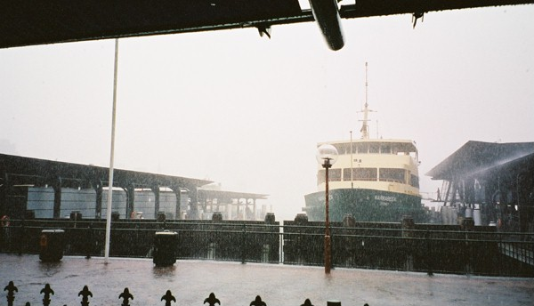 Sydney ferry in a downpour, minus the bridge