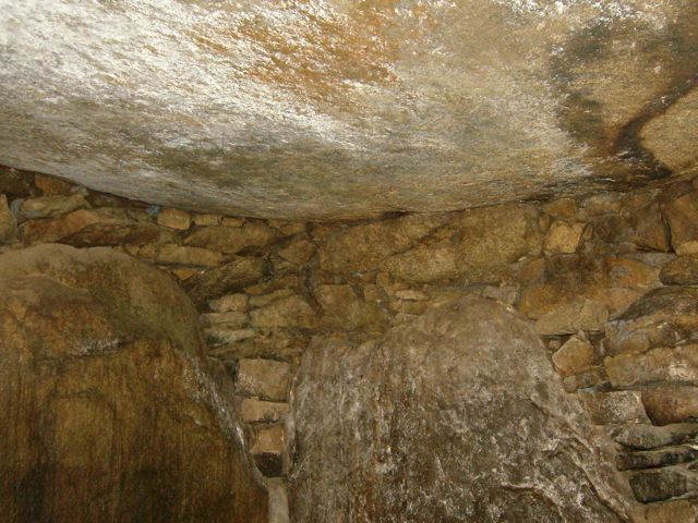 The roof of the chamber is one solid stone, which must weigh several tons.