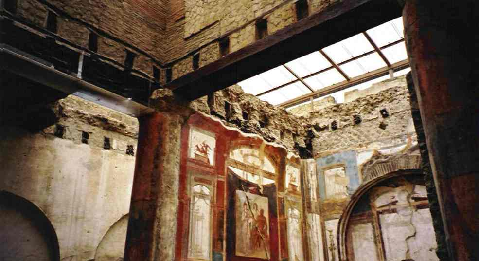 This final picture shows where wooden roof beams have been carbonised due to the heat and sudden burial under the mud. The murals in this chapel have also been extremely well preserved.