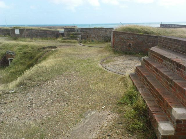 A view across the gun emplacements towards the southeast.