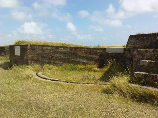 One of the gun emplacements - the rings which would have helped restrain the gun when fired can be seen on the walls.